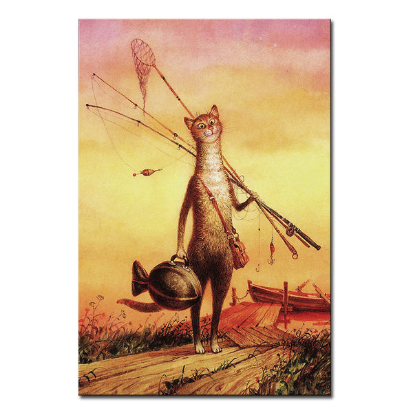 Vladimir Rumyantsev on grass cat world oil painting wall Art Picture Paint on Canvas Prints wall painting no framed