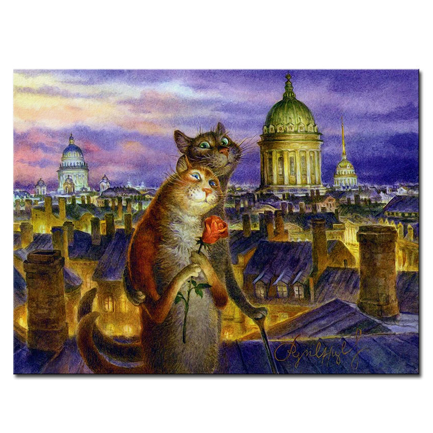 Vladimir Rumyantsev love city with cat world oil painting wall Art Picture Paint on Canvas Prints wall painting no framed
