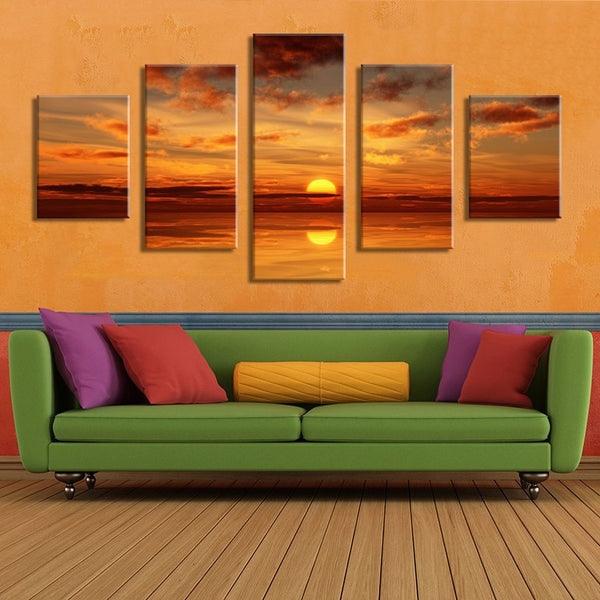 5PCS Home Decor Canvas Wall Art Decor Painting SUNDOWN OCEANS Wall Picture Canvas Art Print from Photo on Canvas for the Home
