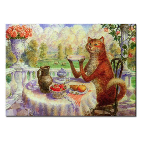 Vladimir Rumyantsev big table eat cat world oil painting wall Art Picture Paint on Canvas Prints wall painting no framed