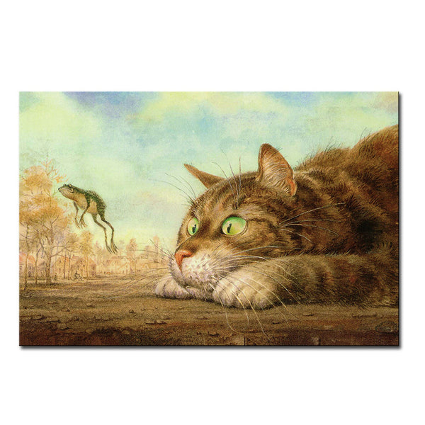 Vladimir Rumyantsev frog with cat world oil painting wall Art Picture Paint on Canvas Prints wall painting no framed
