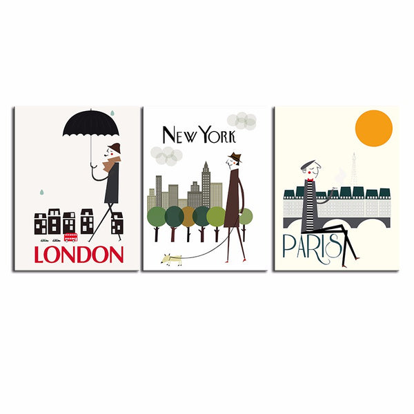 NEW FASHION MODERN HUGE WALL ART OIL PAINTING ON CANVAS PRINT FOR 3 PIECE COMBINATION I LOVE PARIS NEW YORK LONDON CITY NO FRAME