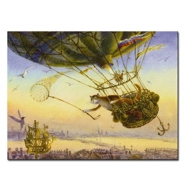 Vladimir Rumyantsev fly and catching cat world oil painting wall Art Picture Paint on Canvas Prints wall painting no framed
