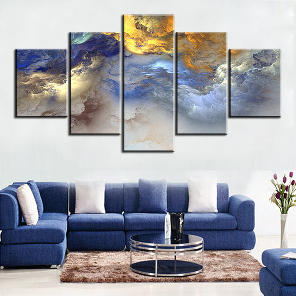 5 pc Set blue yellow grey abstract cloud NO FRAME Oil Painting Canvas Prints Wall Art Pictures For Living Room Decorations
