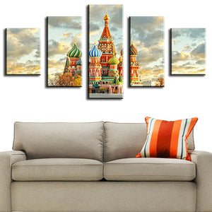 5 Piece moscow-kremlin Modern Home Wall Decor Canvas Picture Art HD Print WALL Painting Set of 5 Each Canvas Arts Unframe