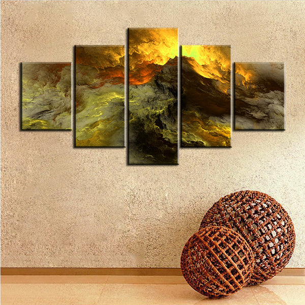 5 pc Set darkness  grey yellow abstract cloud NO FRAME Oil Painting Canvas Prints Wall Art Pictures For Living Room Decorations