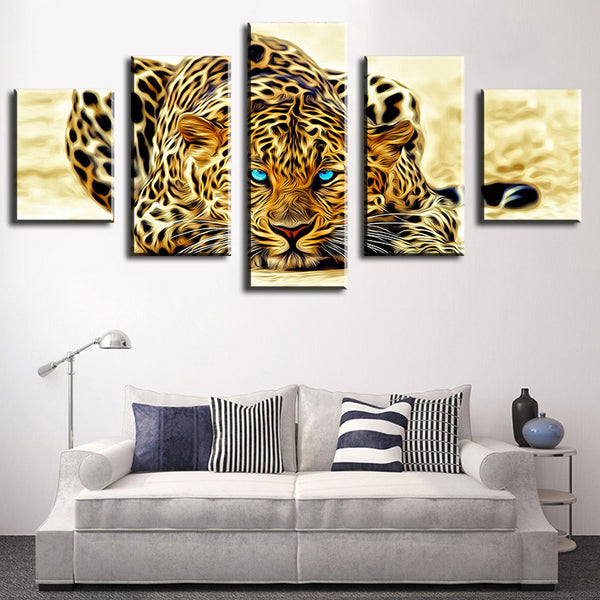 5 Piece Abstract Leopards Modern Home Wall Decor Canvas Picture Art HD Print WALL Painting Set of 5 Each Canvas Arts Unframe
