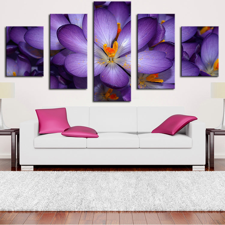 5 Panel purple-flower Modern Home Wall Decor Canvas Picture Art Print WALL Painting Set of 5 Each Canvas Arts Unframe