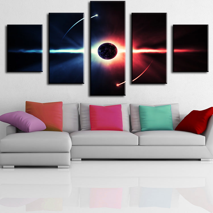 fire behind the-planet Modern Home Wall Decor Canvas Picture Art Print WALL Painting Set of 5 Each Canvas Arts Unframe
