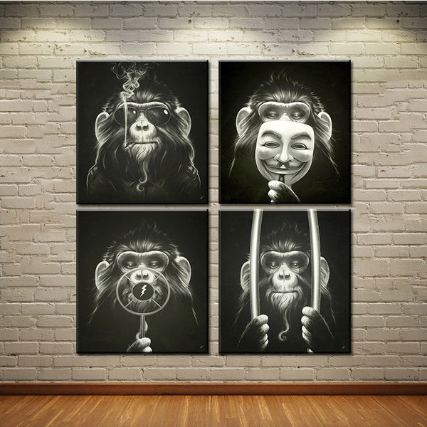 4Panel of one se tDecorative Pictures Balck Abstract Monkey Modern Smoking Picture print On Canvas Wall Oil Paintings No framed
