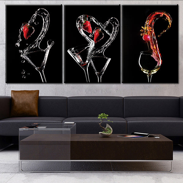 Free shipping 3 PANELS home deco wall decorative frameless oil painting-wine glass print on canvas in the kitchen