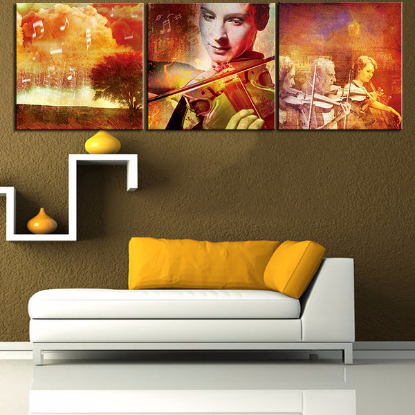 Large size 3pcs Print Oil Painting Wall painting MUSIC SOULS Decorative Wall Art Picture For Living Room paintng No Frame