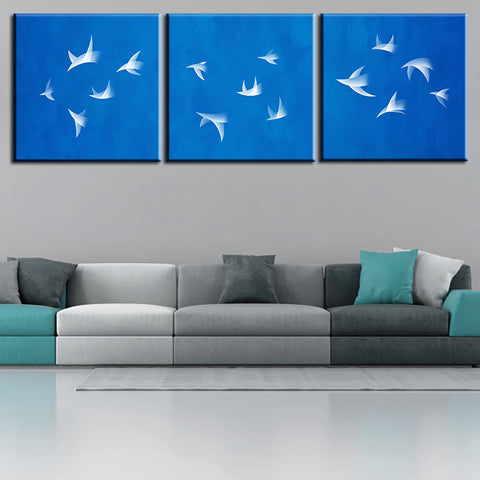 3 Piece Canvas Wall Art Prints for Home Decoration Wall Picture Some birds fly on the sky oil painting print on canvas no framed