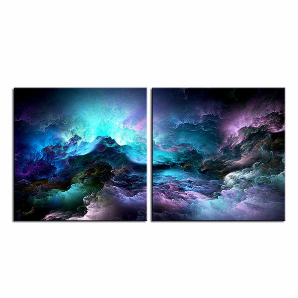 2pcs set NO FRAME Printed Blue Cloud Oil Painting Canvas Prints Wall Painting For Living Room Decorations wall picture art