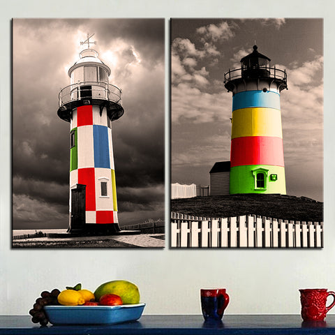 Large size 2pcs Print Oil Painting Wall painting colorful towers Decorative Wall Art Picture For Living Room paintng No Frame