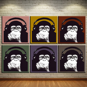 Warhol Monkey music wall art Canvas painting Oil Painting 6pieces/set Modern animals wall picture print room wall decor No Frame