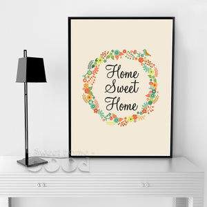 Flower Sweet Home Quote Canvas Art Print Poster, Wall Pictures for Home Decoration, Wall Decor FA238-4