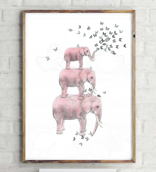Elephant with Butterfly Sketch Canvas Art Print Painting Poster,  Wall Pictures for Home Decoration, Home Decor Ye15-3