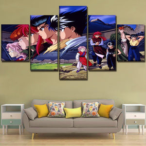 Canvas Printed Wall Art Poster 5 Piece Animation Yu Yu Hakusho Painting Modern Home Decor Modular Picture Frame For Living Room