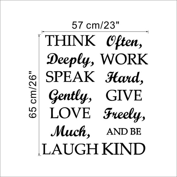 Think Deeply Speak Gently Quotes Living Room Kids Office Wall Decal Sayings WordsVinyl Wall Sticker Decor Home Mural