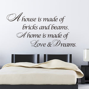 House is Love Dreams Home decor Quote wall sticker poster vinyl wall decals decorative wallpaper