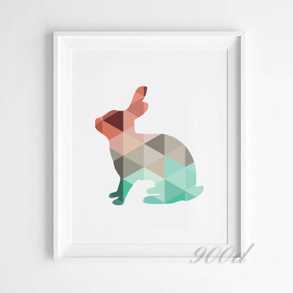 Cartoon Geometric Rabbit Canvas Art Print Poster, Wall Pictures for Home Decoration, Wall Decor FA254