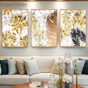 Nordic Style Plant Golden Leaves Canvas Decorative Painting Art Abstract Print Poster Picture Wall Living Room Bedroom Decor