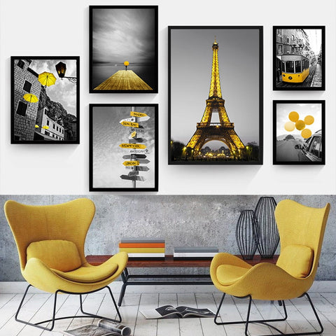 Yellow Style Scenery Picture Home Decor Nordic Canvas Painting Wall Art Print Black and White Backdrop Landscape for Living Room