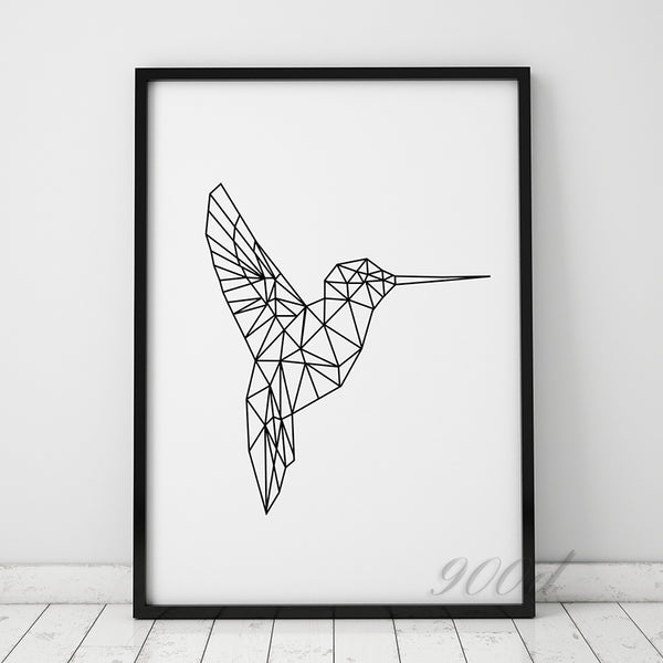 Geometric Flying Woodpecker Canvas Art Print Painting Poster, Wall Pictures For Home Decoration, Frame not include 221-1