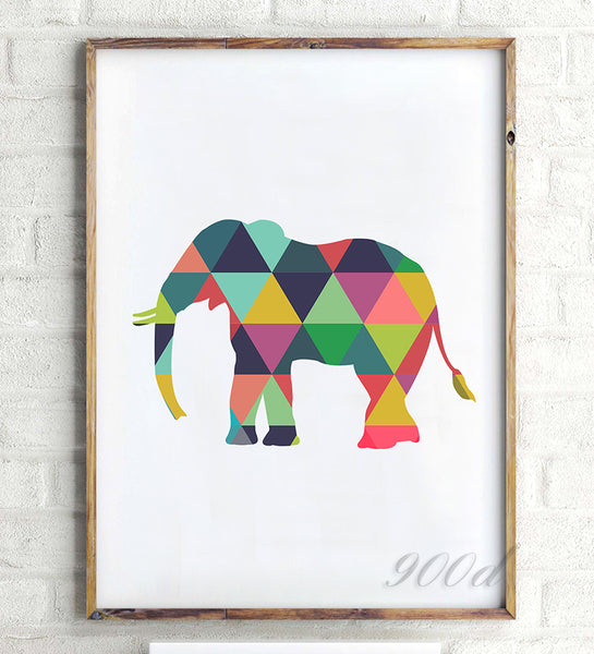 Colorful Geometric  Elephant Canvas Art Print Poster, Wall Pictures for Home Decoration, Frame not include FA237-12