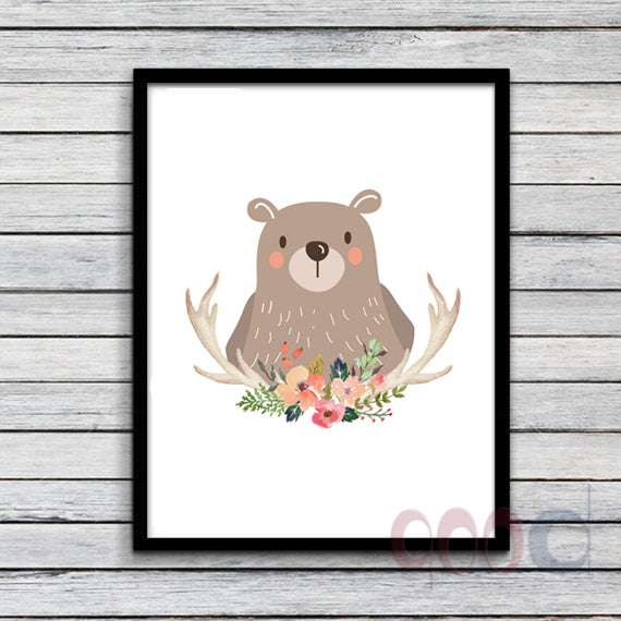 Cartoon Bear Canvas Art Print Poster, Wall Pictures for Home Decoration, Wall Decor FA238-2