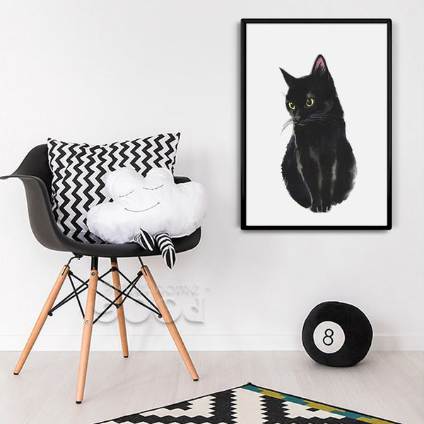 Watercolor Black Cat Canvas Art Print Painting Poster,  Wall Pictures for Home Decoration, Giclee Print Wall Decor S16013