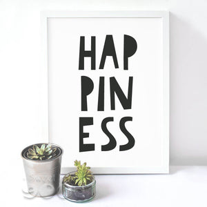 Happiness Quote Canvas Art Print Poster, Wall Pictures For Child Room Decoration, FA182