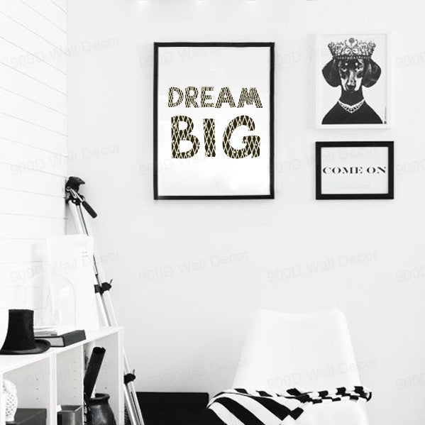 Cartoon Dream Big Quote Canvas Art Print, Wall Pictures Home Decoration, Painting Poster YE004