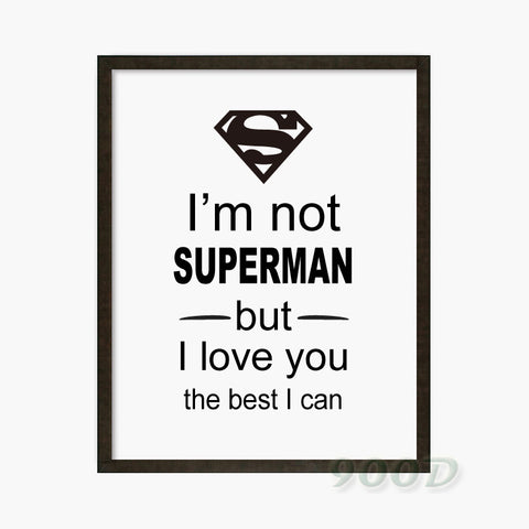 Superman Quote Canvas Art Print Poster, Wall Pictures for Home Decoration, Frame not include FA306