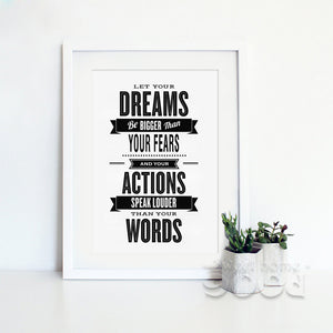 Inspiration Dream Quote Canvas Art Print Poster, Wall Pictures For Home Decoration, Wall Decor FA19