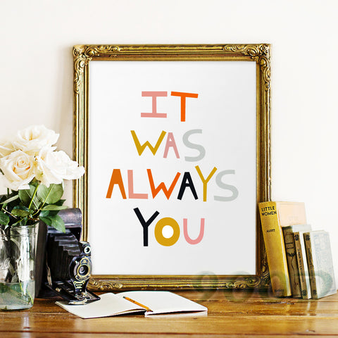 Cartoon Always You Quote Canvas Art Print Poster, Wall Pictures for Home Decoration, Frame not include FA286