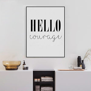 Hello Courage Quote Canvas Art Print Poster, Simple Style Wall Pictures for Home Decoration, Wall Decor YE135