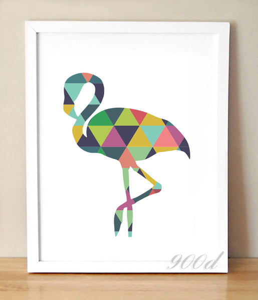 Geometric Flamingo Canvas Art Print Painting Poster, Wall Pictures For Home Decoration, Frame not include 237-35