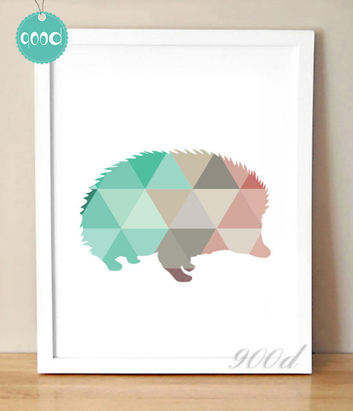 Geometric Hedgehog Canvas Art Print Painting Poster,  Wall Pictures for Home Decoration, Home Decor 237-28