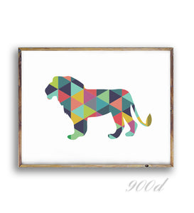 Geometric Lion Canvas Art Print Painting Poster, Wall Pictures For Home Decoration, Frame not include 237-36