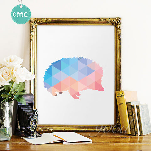 Geometric Hedgehog Canvas Art Print Painting Poster,  Wall Pictures for Home Decoration, Home Decor 237-27