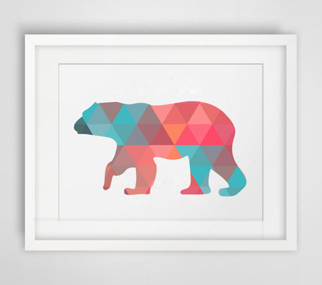 Colorful Polar Bear Canvas Art Print Poster, Wall Pictures for Home Decoration, Frame not include FA237-16