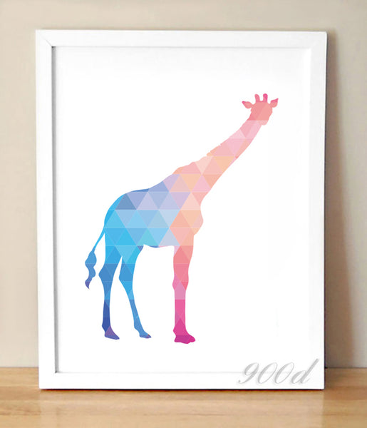 Geometric Giraffe Canvas Art Print Painting Poster,  Wall Pictures for Home Decoration, Home Decor 237-26