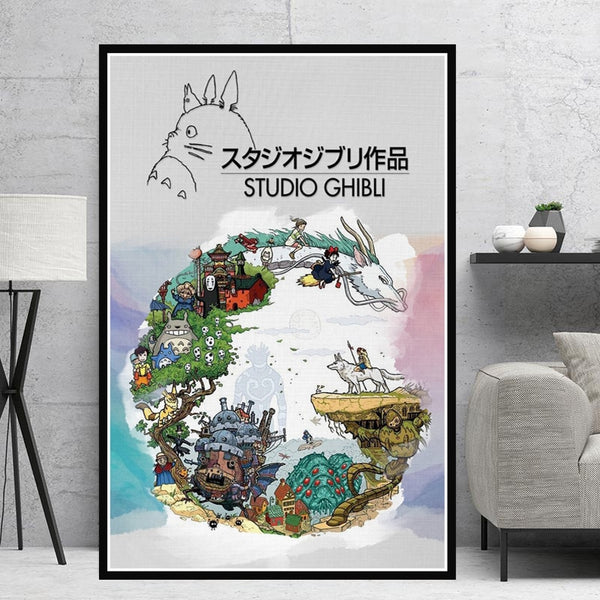 Home Decor Wall Art Canvas Painting Studio Ghibli Tribute Japan Anime Modern Prints Pictures Nordic Poster Living Room Modular