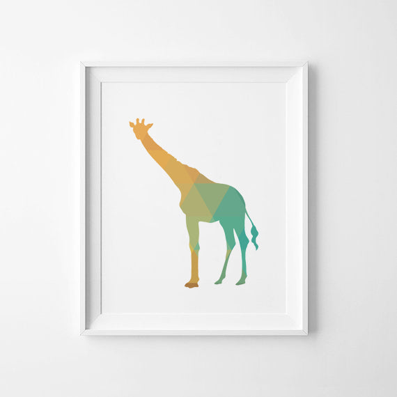 Colorful Giraffee Canvas Art Print Poster, Wall Pictures for Home Decoration, Frame not include FA237-4