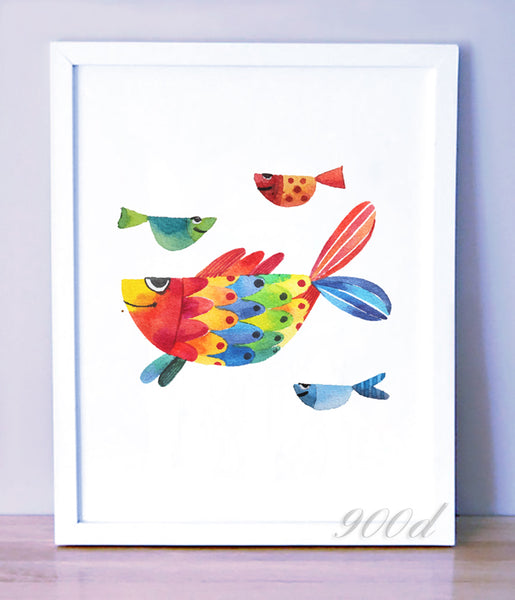 Watercolor Cartoon Fish Canvas Art Print Painting Poster,  Wall Pictures for Home Decoration,  Home Decor FA360