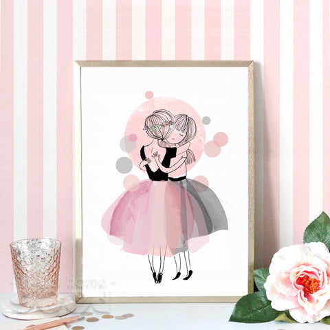 Watercolor Hug Girls Canvas Art Print Poster,  Wall Pictures for Girl Room Decoration, Giclee Wall Decor CM022-1
