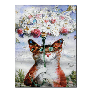 Vladimir Rumyantsev butterfly with cat world oil painting wall Art Picture Paint on Canvas Prints wall painting no framed