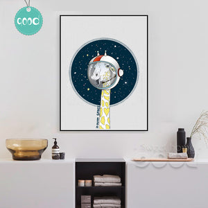 Giraffe in outer space Canvas Art Print Poster, Wall Pictures for Home Decoration, Wall Decor DE008